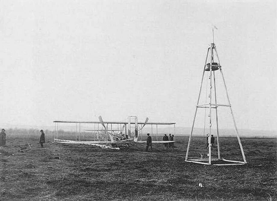Launching derrick and the Wright Model A Flyer February, 1909 - March, 1909 M. Rol and Company, Paris