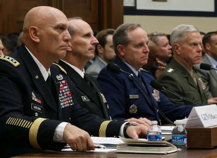 Military leaders speak to a House panel in September on budget cuts. They are testifying in the Senate on Thursday. Photo: Getty Images / 2013 Getty Images