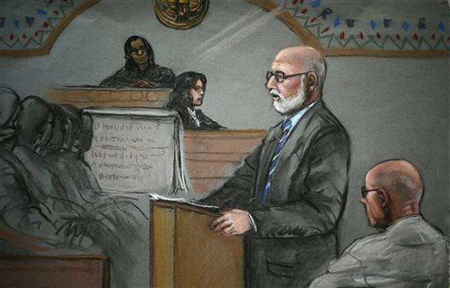 "In this courtroom sketch, James ""Whitey"" Bulger, right, listens to his defensive attorney, J.W. Carney Jr., during closing arguments at U.S. District Court, in Boston, Monday, Aug. 5, 2013. Bulger's lawyers used their closing arguments to go after three gangsters who took the stand against the reputed Boston crime boss, portraying them as pathological liars whose testimony was bought and paid for by prosecutors. (AP Photo/Jane Flavell Collins) Photo: AP / AP"
