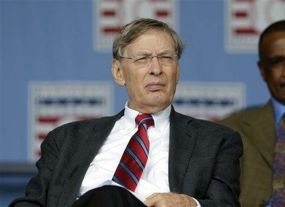 Major League Baseball Commissioner Bud Selig is seen during the Baseball Hall of Fame induction ceremony on Sunday, July 28, 2013, in Cooperstown, N.Y. (AP Photo/Mike Groll) Photo: AP / AP