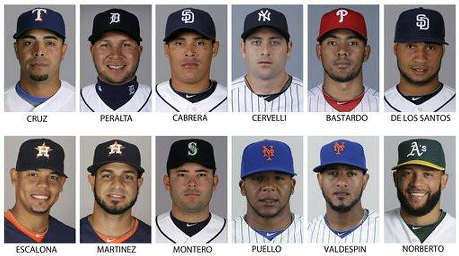 In these 2013 file photos are, top row from left; Texas Rangers' Nelson Cruz, Detroit Tigers'Jhonny Peralta, San Diego Padres' Everth Cabrera, New York Yankees' Francisco Cervelli, Philadelphia Phillies' Antonio Bastardo and San Diego Padres' Fautino de los Santos. Bottom row from left are: Houston Astro's Sergio Escalona, Houston Astros' Fernando Martinez, now with the New York Yankees, Seattle Mariners' Jesus Montero, New York Mets' Cesar Puello, New York Mets' Jordan Valdespin and Oakland Athletics' Jordan Norberto. Alex Rodriguez remained the lone holdout while All-Stars Nelson Cruz, Jhonny Peralta and Everth Cabrera were among 12 players who accepted 50-game penalties from Major League Baseball on Monday, Aug. 5, 2013,  as part of its Biogenesis drug investigation, a person familiar with the negotiations told The Associated Press.  (AP Photo/File) Photo: AP / AP