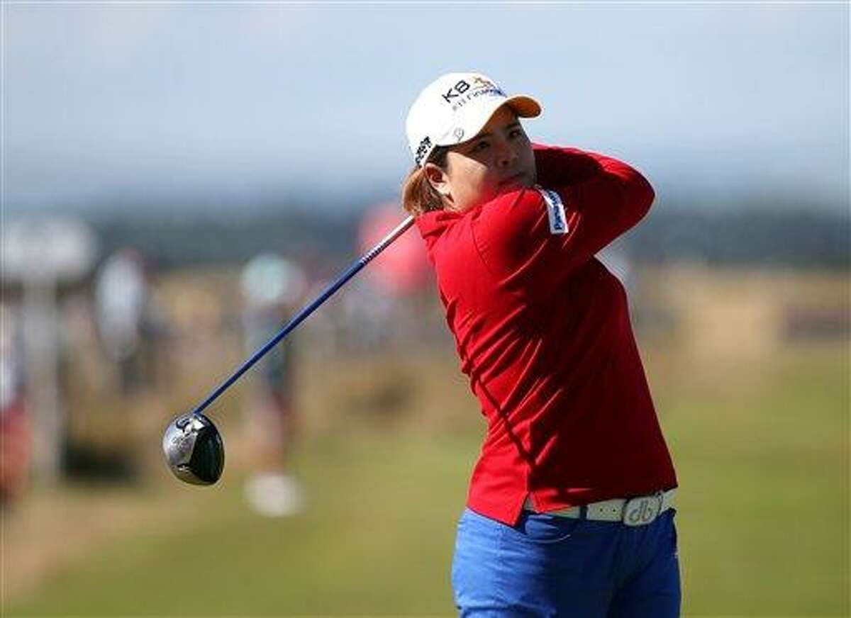 South Korea's Inbee Park, tees off on the 17th during the second round of the Women's British Open golf championship on the Old Course at St Andrews, Scotland, Friday Aug. 2, 2013. (AP Photo/Scott Heppell)