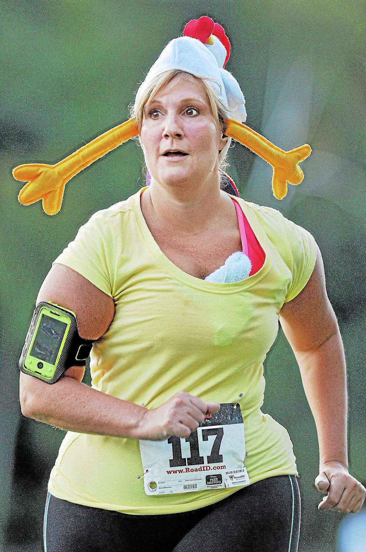 Middletown resident Lynn Ushchak completed the Oddfellows 5K Rubber Chicken Run in 42:31 Thursday evening at Mercy High School. Tom Holowka placed first in 17:18. Results can be viewed www.thelastminleracing.com. A gallery of images can be viewed at media.middletownpress.com. Catherine Avalone — The Middletown Press