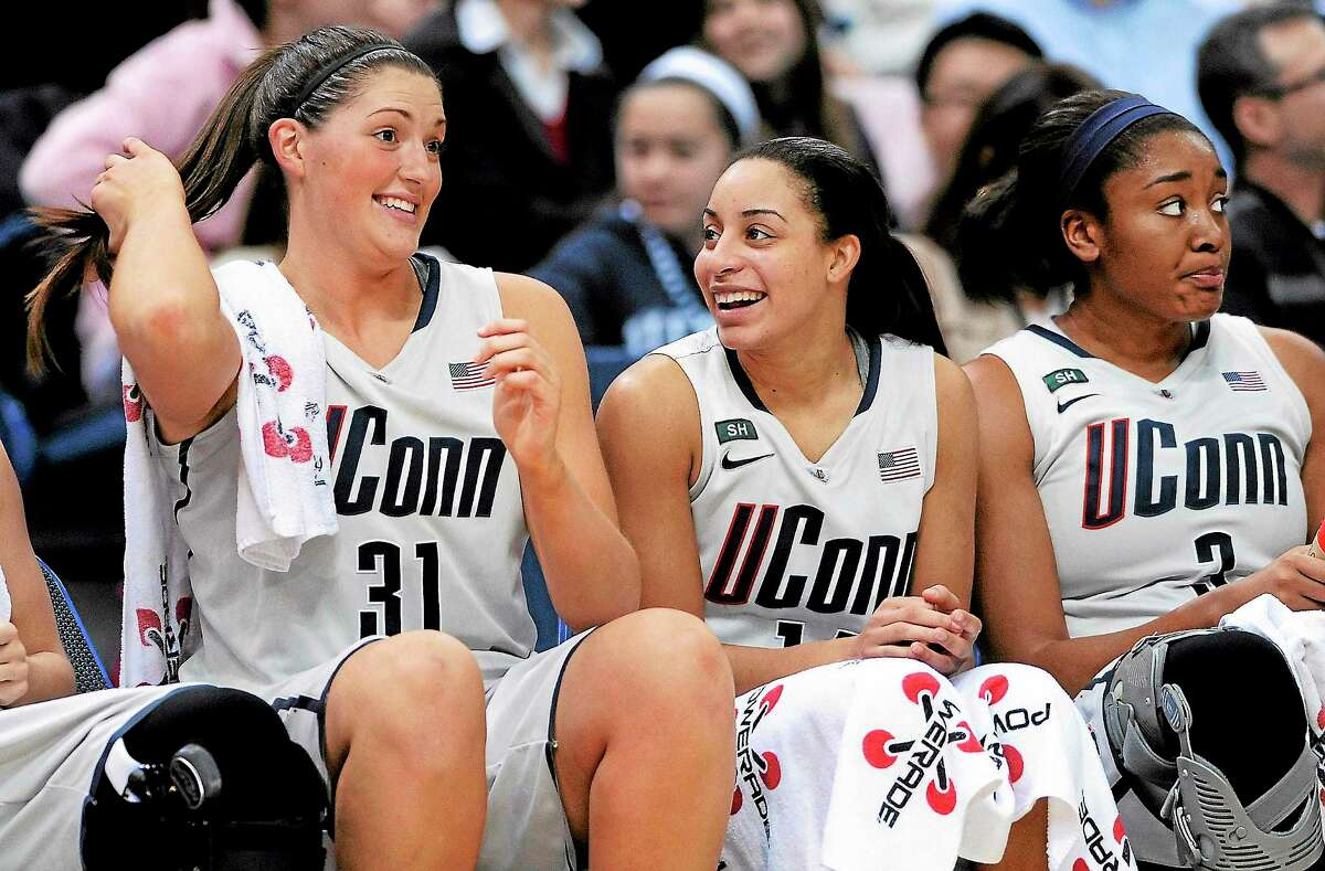 UConn's Stefanie Dolson, left, and Bria Hartley are the two remaining Husky seniors from an original class of five. They will look to lead UConn to back-to-back national titles in their final season.