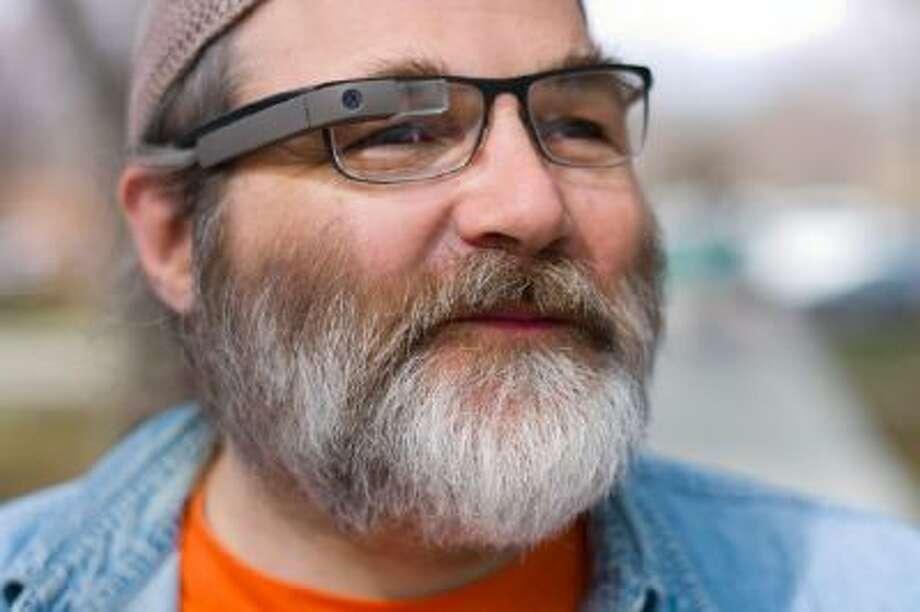 Greg Priest-Dorman wearing Google Glass over prescription glasses.