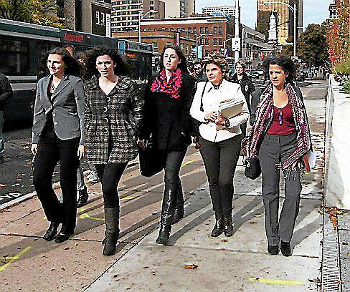 L to r: Kylie Angell, Rosemary Richi, Carolyn Luby, Gloria Allred and Nina PirottiChristine Stuart photo