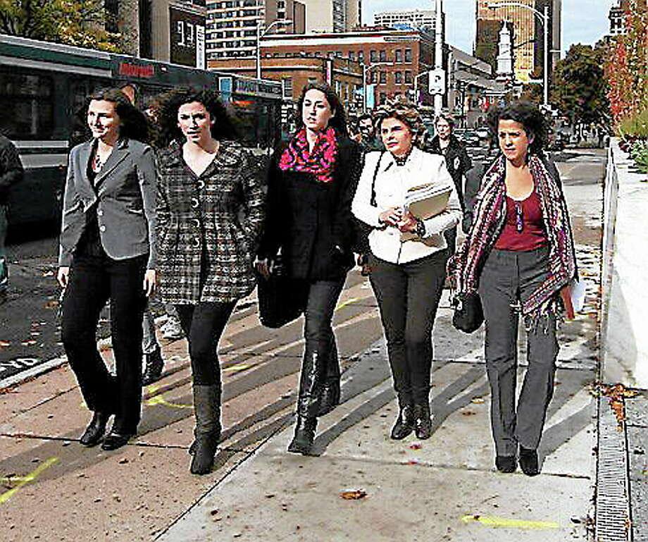 L to r: Kylie Angell, Rosemary Richi, Carolyn Luby, Gloria Allred and Nina PirottiChristine Stuart photo Photo: Journal Register Co.