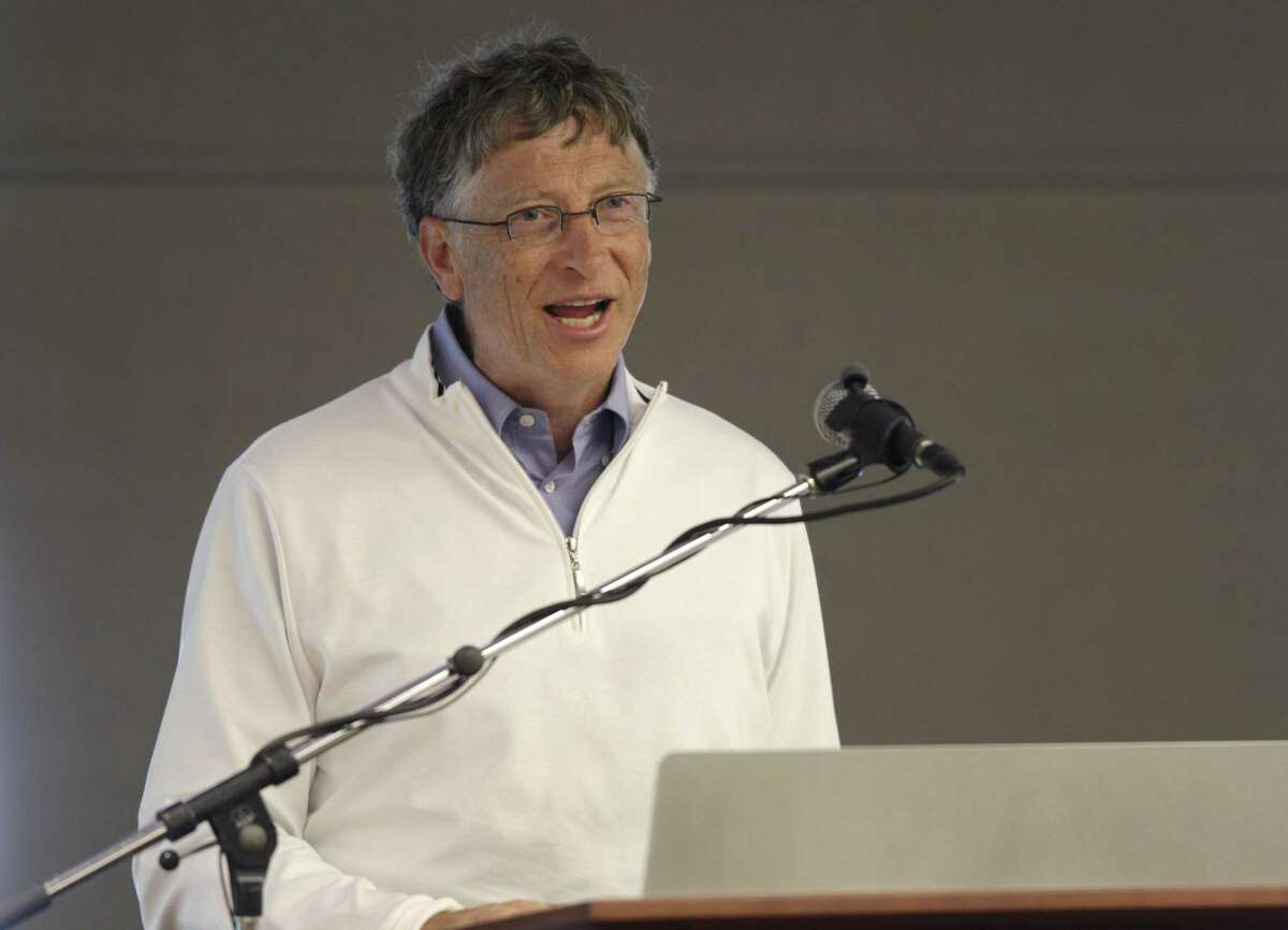 """Bill Gates speaks at the """"Reinventing the Toilet"""" Fair, Tuesday, Aug. 14, 2012, in Seattle. The event is part of a Bill & Melinda Gates Foundation competition to reinvent the toilet for the 2.6 billion people around the world who don't have access to modern sanitation."""