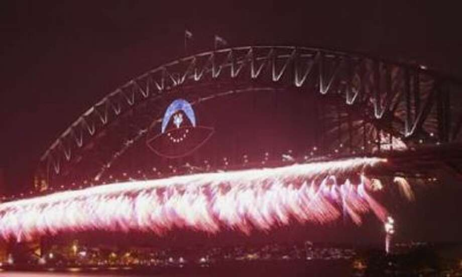 Fireworks light up the skyline over Sydney.
