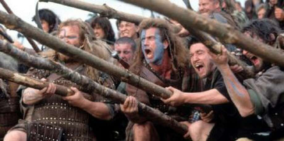 Mel Gibson in a scene from the film 'Braveheart', 1995.