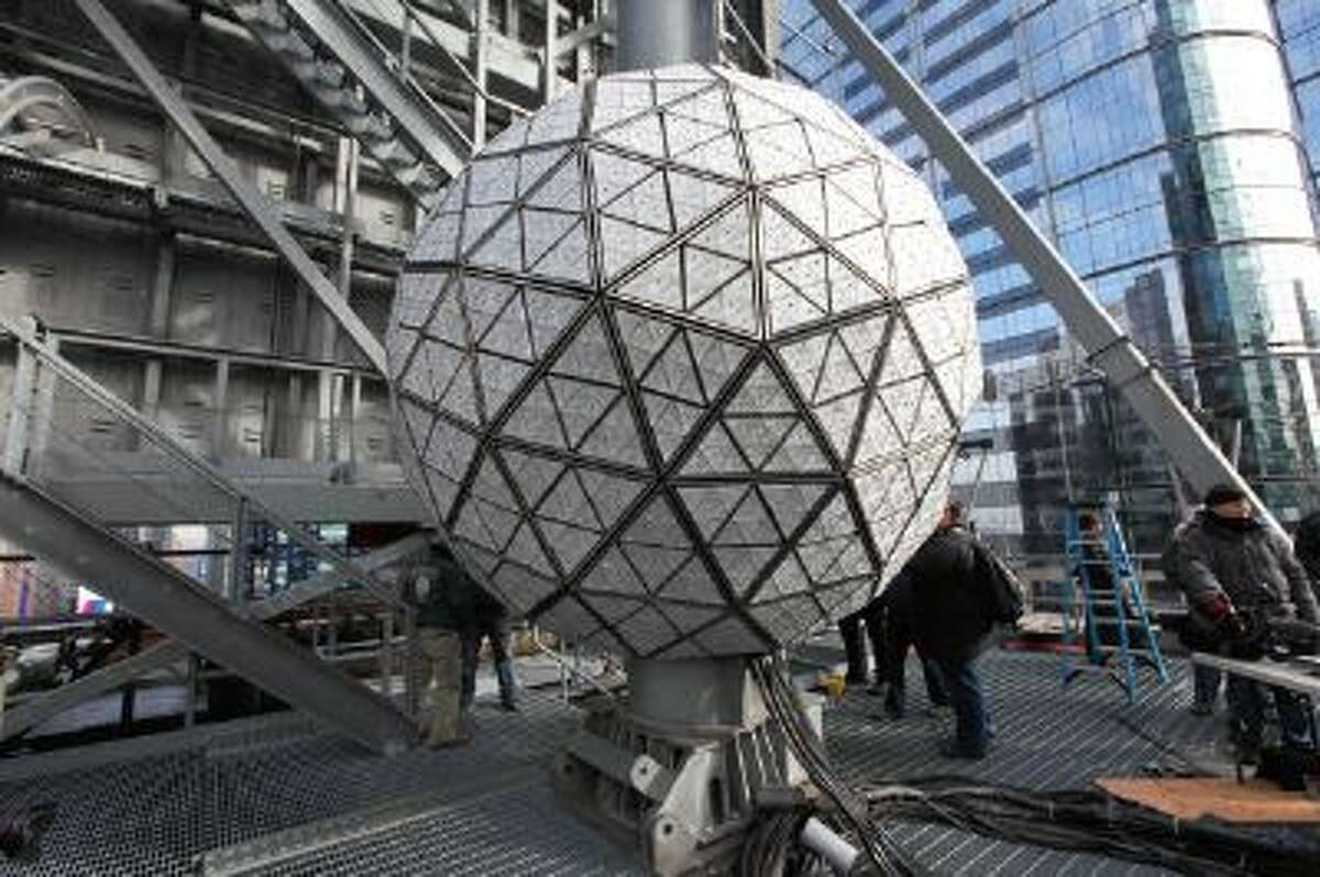A view of the 2014 New Year's Eve Waterford Crystal ball during its installation at One Times Square on December 27, 2013 in New York City.