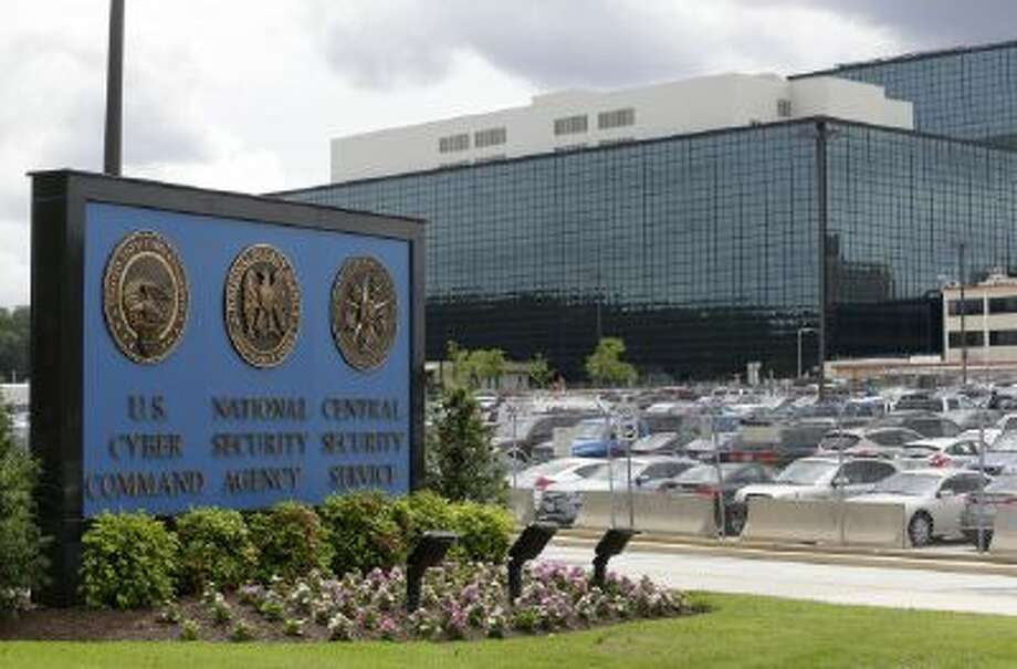 A file photo shows a sign outside the National Security Agency in For Meade, Md.