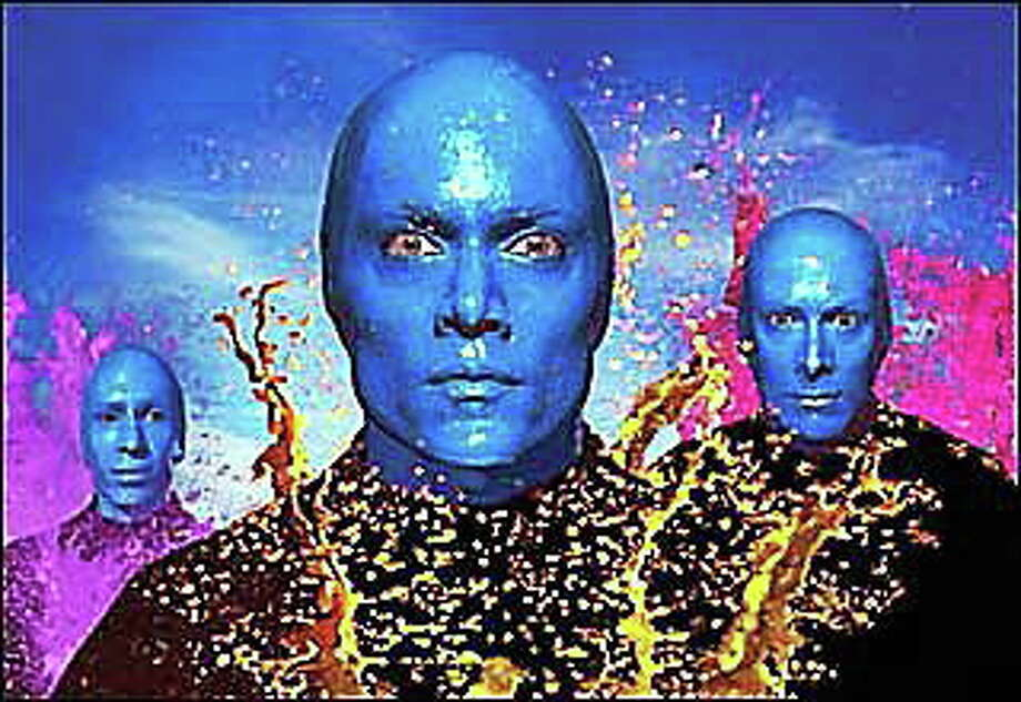 Photograph courtesy of Blue Man Group Blue Man Group will make appearances at the Shubert in New Haven this weekend. Photo: Journal Register Co.