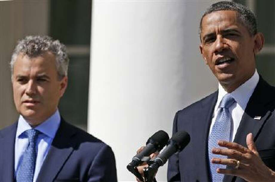 President Barack Obama, accompanied by acting Budget Director Jeffrey Zients, speaks in the Rose Garden of the White House in Washington, Wednesday April 10, 2013, to discuss his proposes fiscal 2014 federal budget. (AP Photo/Charles Dharapak) Photo: AP / AP
