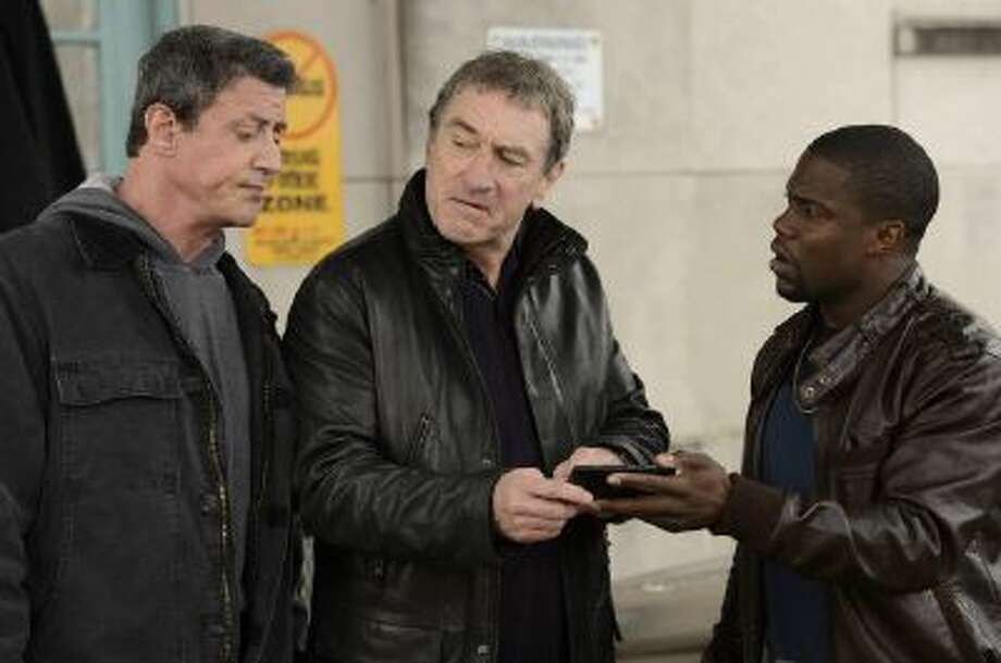 """(L-r) Sylvester Stallone as Henry """"Razor"""" Sharp, Robert de Niro as Billy """"The Kid"""" McDonnen and Kevin Hart as Dante Slate, Jr. in Warner Bros. Pictures' comedy """"Grudge Match,"""" a Warner Bros. Pictures release."""