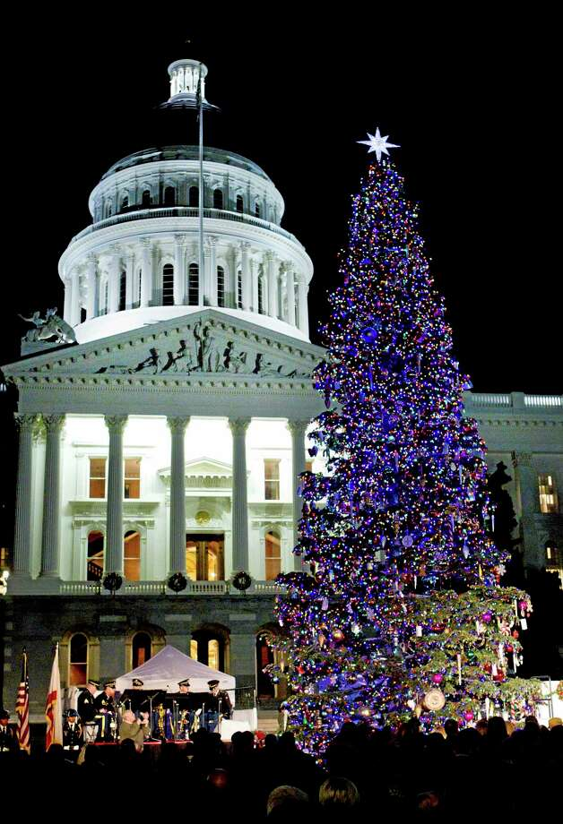 The lights on the Capitol Christmas Tree glow after a lighting ceremony at the Capitol in Sacramento, Calif., on Thursday, Dec. 12, 2013. The 55 foot red fir tree is decorated with 500 hand-crafted ornaments made by children and adults with developmental disabilities and is illuminated by approximately by 10,000 low wattage LED lights. Photo: Steve Yeater—The Associated Press  / FR69238