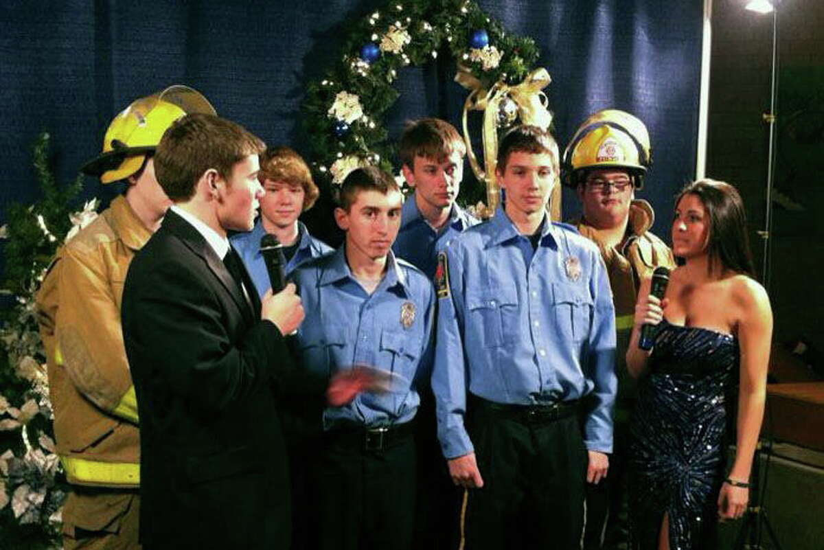 Chet Crocco interviews members of the Haddam Junior Fire Company during the HKTV Holiday Telethon on Dec. 20. Making an appearance were Chief Nate Bugbee, Asst. Chief Andrew Nichols, Capt. Chuck Kowal and junior firefighters David Pierson, Zack Ouellette and James Saucier. Crocco is also a junior firefighter/EMR.
