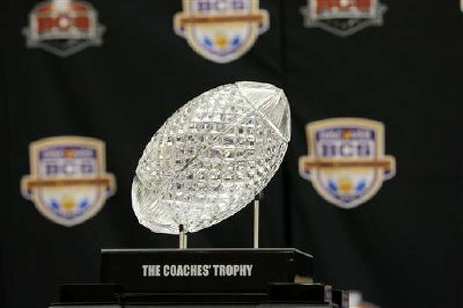 This is what they're playing for: The Coaches' Trophy, which goes to the winner of the national championship game. Photo: ASSOCIATED PRESS / AP2013