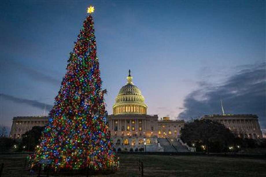 The U.S. Capitol Christmas tree is lit against the early morning sky Wednesday, Dec. 4, 2013 in Washington. The tree was officially lit Tuesday night to kick off the holiday season in the Nation's Capital. (AP Photo/J. David Ake) Photo: ASSOCIATED PRESS / AP2013