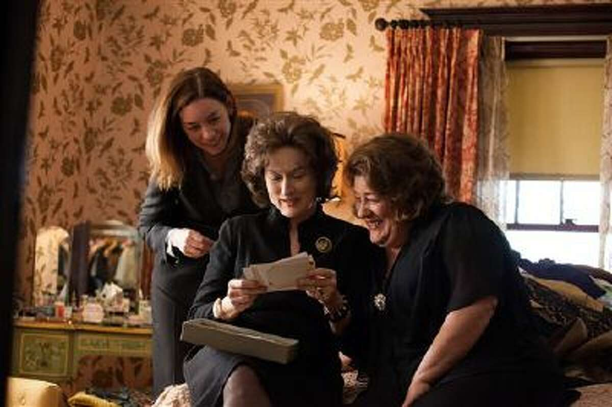 This publicity image released by The Weinstein Company shows, from left, Julianne Nicholson, Meryl Streep and Margo Martindale in a scene from