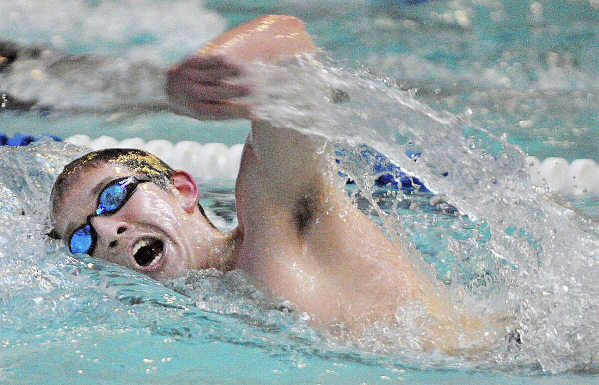 Middletown's Michael Ciebielski placed first in the 500 freestyle in 5:20.97 against Rocky Hill Thursday afternoon at the Baldwin-Parmelee Pool at Middletown High School.
