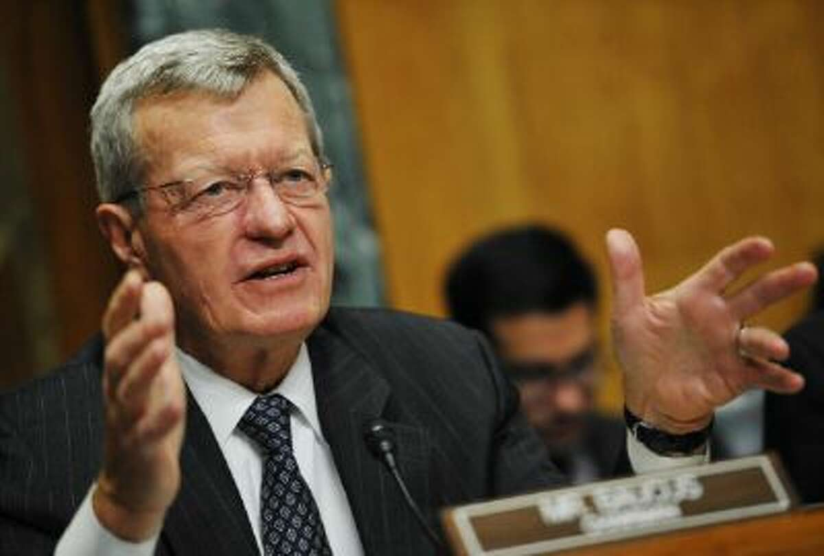 Senate Finance Committee Chairman Max Baucus(D-MT) speaks during a hearing on health insurance exchanges on November 6, 2013 in the Dirksen Senate Office on Capitol Hill in Washington, DC. AFP PHOTO/Mandel NGAN (Photo credit should read MANDEL NGAN/AFP/Getty Images)