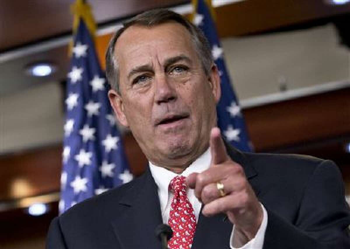 House Speaker John Boehner of Ohio speaking during a news conference on Capitol Hill in Washington.