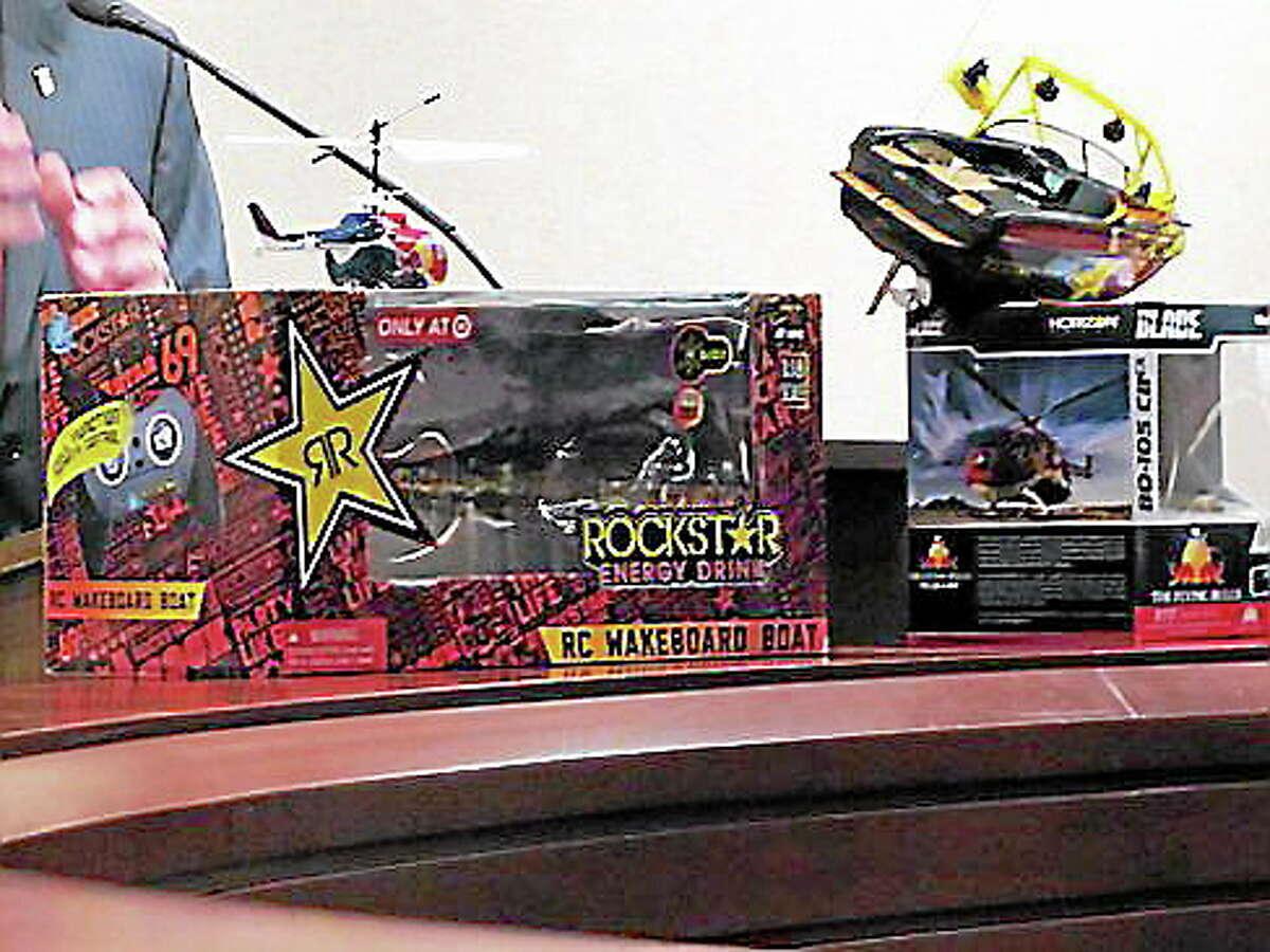Toys with energy drink logos. Hugh McQuaid/CT NewsJunkie