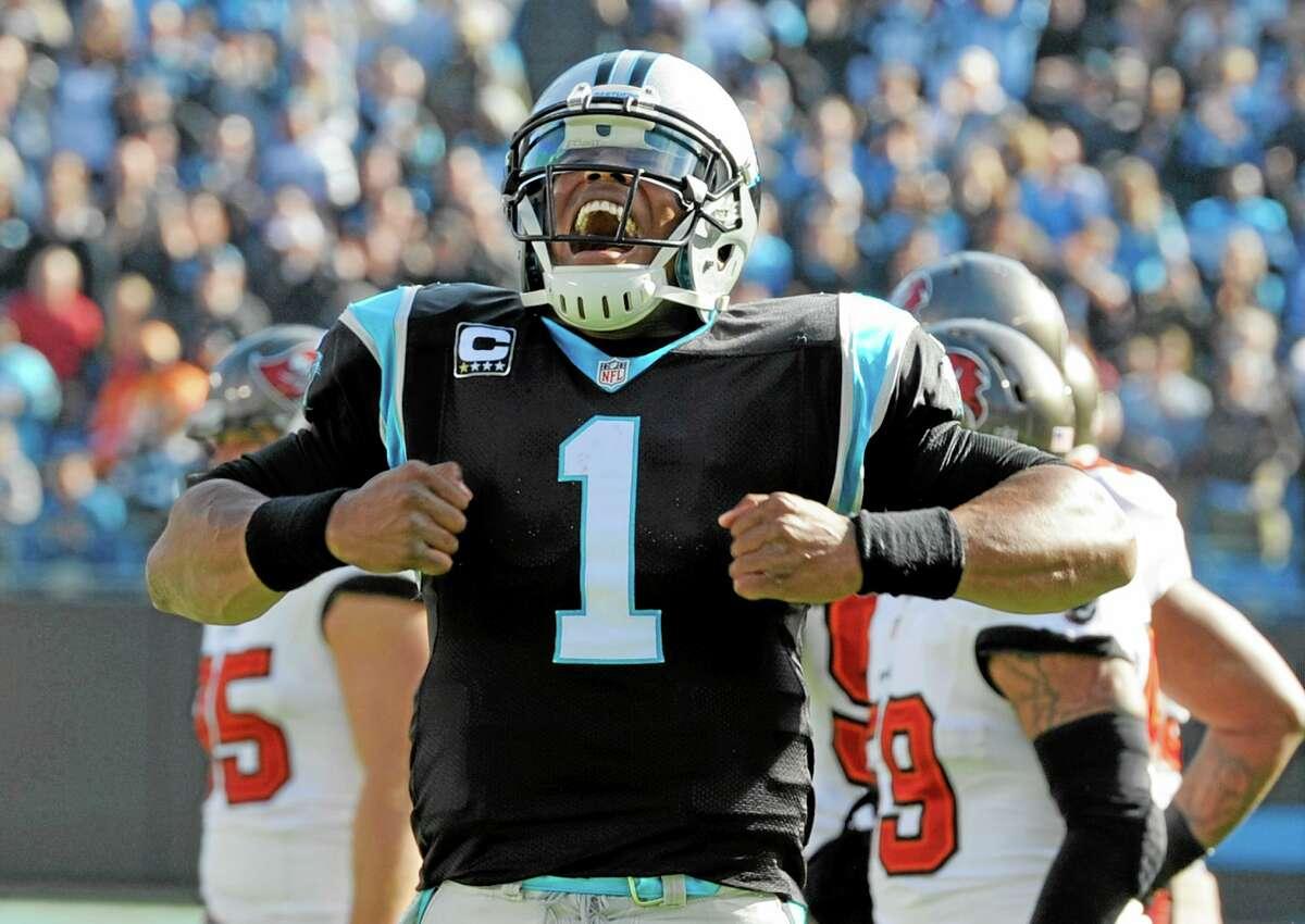 Carolina Panthers quarterback Cam Newton celebrates a touchdown earlier this season.