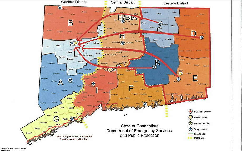 A map provided by the state police union shows where calls were routed from in Eastern Connecticut to Litchfield. Photo: Journal Register Co.