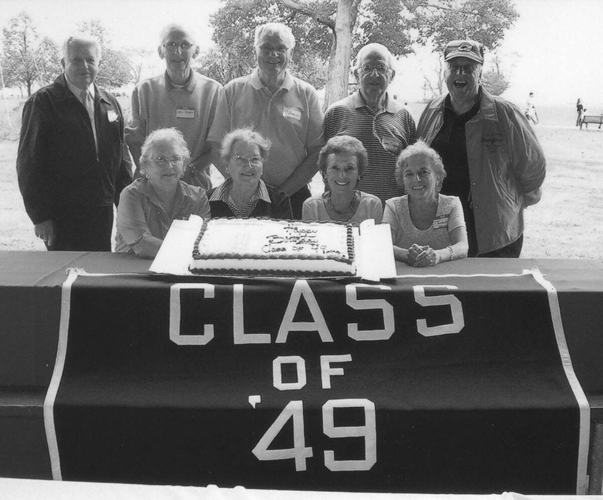 Members of the Stamford High School Class of 1949 held a group 80th birthday picnic recently at Cove Island Park. The group celebrated with a birthday cake and refreshments at the waterfront park. Visit http://stamfordhigh.org/reunionsclass-contacts1.aspx. Pictured, seated from left are Class of '49ers: Meg Wynne, Mimi Troy, Dora Brown and Joan Nomack; Standing from left are: Cliff Studley, John Hogan, Paul Brown, Sam Cingari and Carmine Vaccaro, all of Stamford.