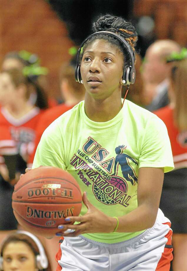 Catherine Avalone — The Middletown Press                                                                                              Cromwell junior Janelle Harrison warms up at Mohegan Sun, a half hour before taking on Notre Dame-Fairfield for the Class M Championship game last year. Photo: Journal Register Co. / TheMiddletownPress