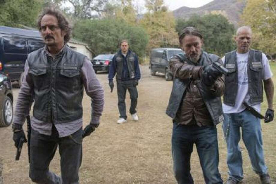 (L-R) Kim Coates as Alex 'Tig' Trager, Tommy Flanagan as Filip 'Chibs' Telford, David Labrava as Happy in 'Sons of Anarchy' televised on Tuesday, December 3, 2013.