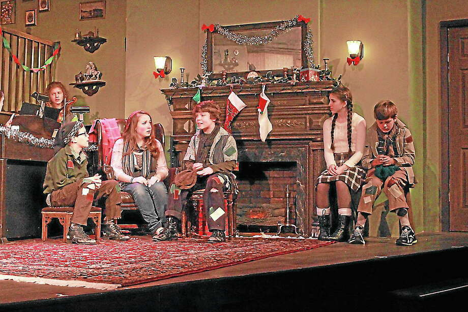 "Photos by Anne Hudson From left, cast members Carson Waldron, Grace Carver, Tyler Felson, Jenna Berloni, Mason Waldron in a scene from ""The Bells of Dublin"" at the Ivoryton Playhouse. Photo: Journal Register Co."