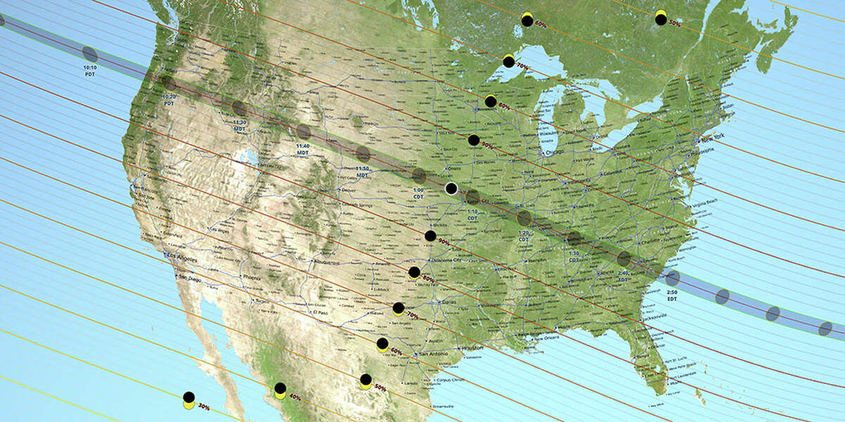 the path of totality for the August 21, 2017 total solar eclipse.