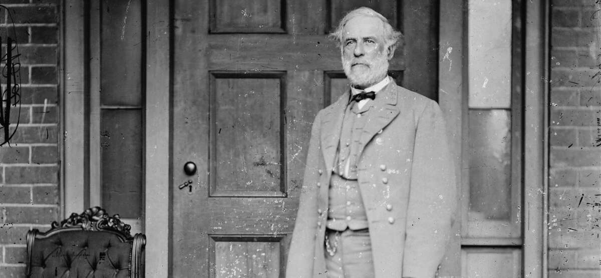 In this image from the U.S. Library of Congress, Confederate Gen. Robert E. Lee stands for a portrait April 16, 1865, in Richmond, Va.