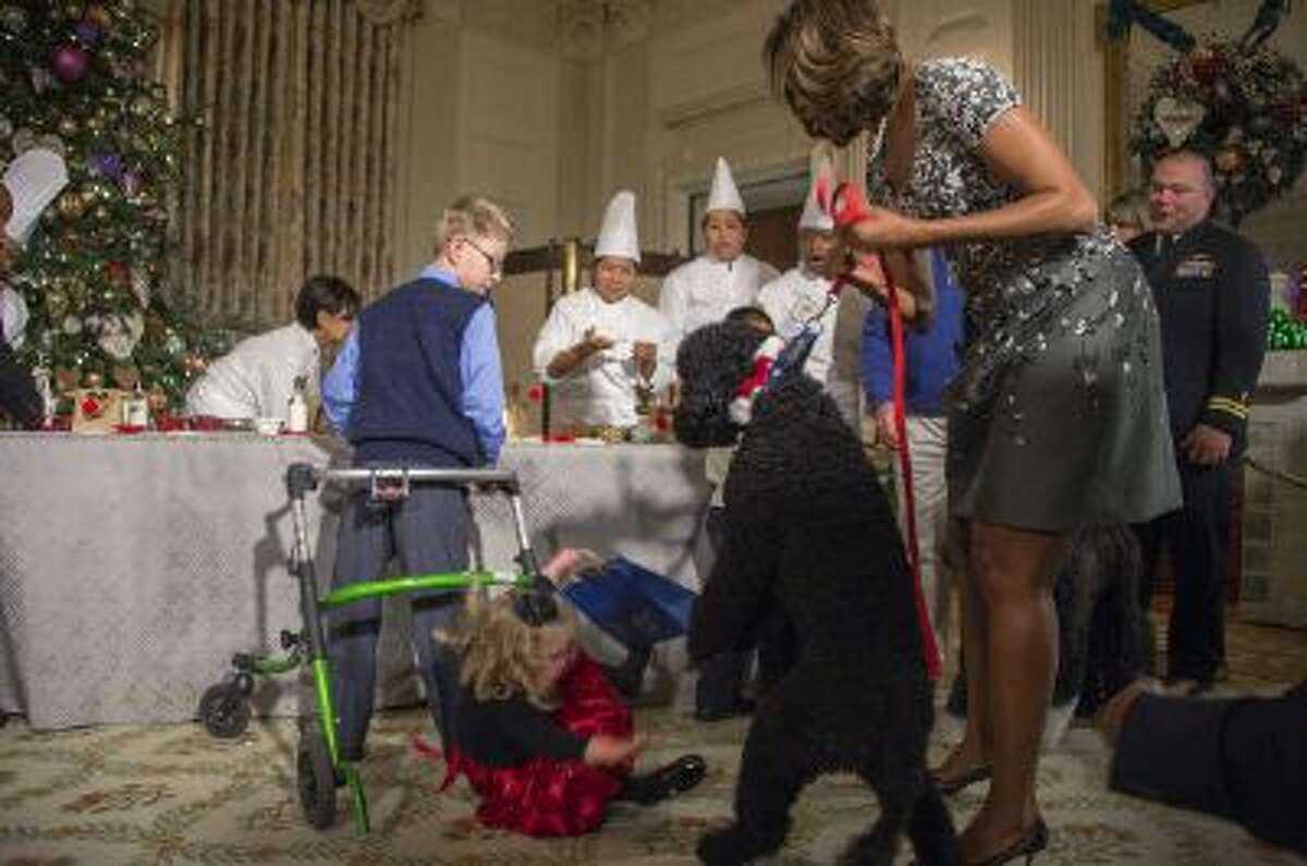 US First Lady Michelle Obama (R) pulls on her dog Sunny as two-year-old Ashtyn Gardner takes a tumble during the White House Christmas decorations viewing at the White House in Washington, DC, on Dec. 4.