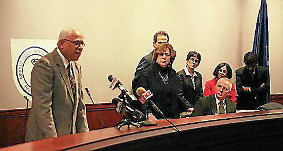 Dr. Bollepalli Subbarao speaks as Dr. Robin Oshman and lawmakers look on. Photo: Journal Register Co.