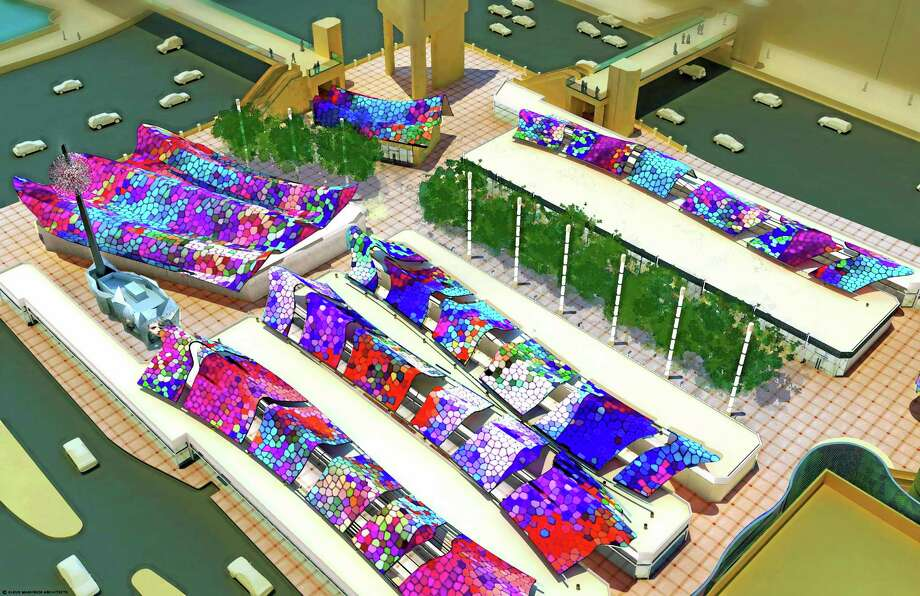This overhead view of an architect's model as seen from Bally's south tower at Las Vegas Blvd and Flamingo Road, provided by the developer, shows Grand Bazaar Shops, a new Las Vegas mall.  Sin City, where everything must mirror something else, is getting the new mall modeled on Turkey's Grand Bazaar.  Construction on the Grand Bazaar Shops began the week of Dec. 2, 2013, and it will open outside of Bally's hotel-casino on the Las Vegas Strip in fall, 2014. (AP Photo/Grand Bazaar Shops) Photo: AP / Grand Bazaar Shops