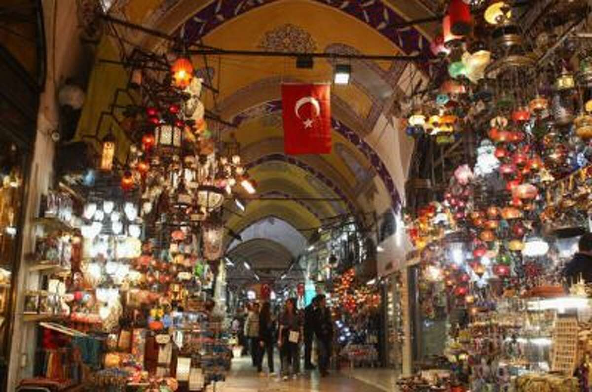 A view inside the Grand Bazaar, one of the largest and oldest covered markets in the world, with more than 58 covered streets and over 4,000 shops.
