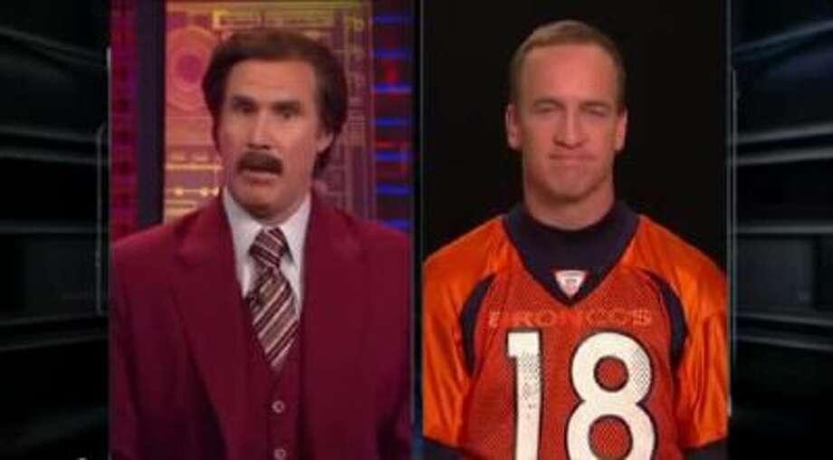 Will Ferrell, as Ron Burgundy, interviews Broncos quarterback Peyton Manning.