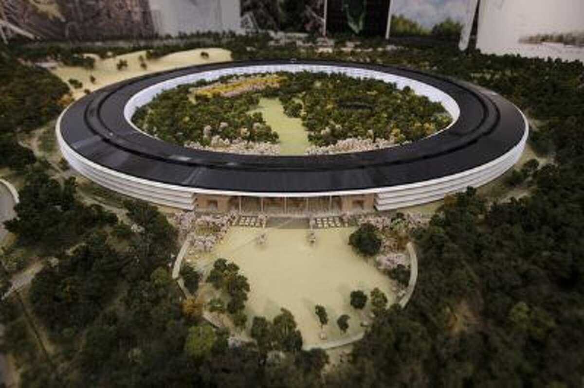 An overview of a model of Apple's proposed new campus.