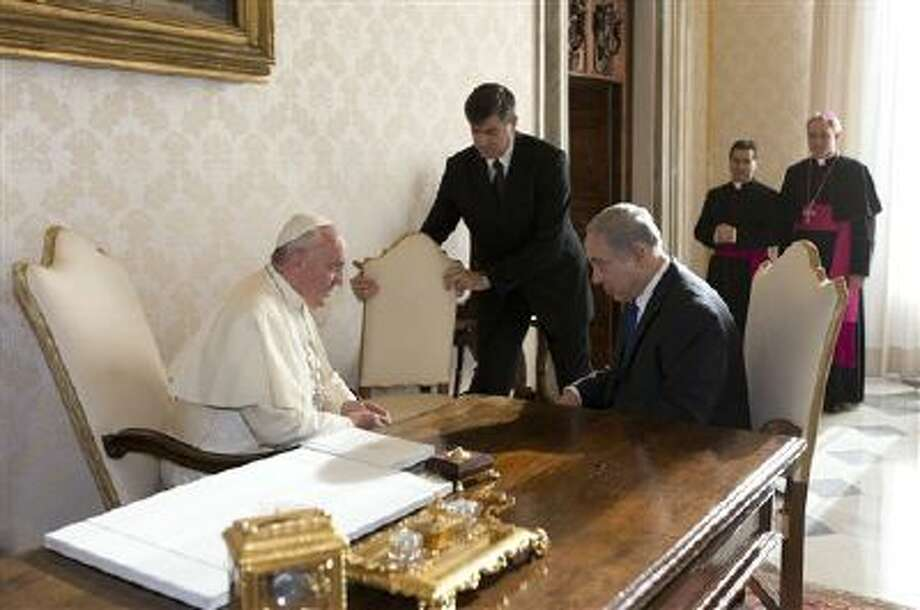 Pope Francis meets Israeli Prime Minister Benjamin Netanyahu at the Vatican on Monday. Netanyahu is on a visit to Italy. Photo: ASSOCIATED PRESS / AP2013