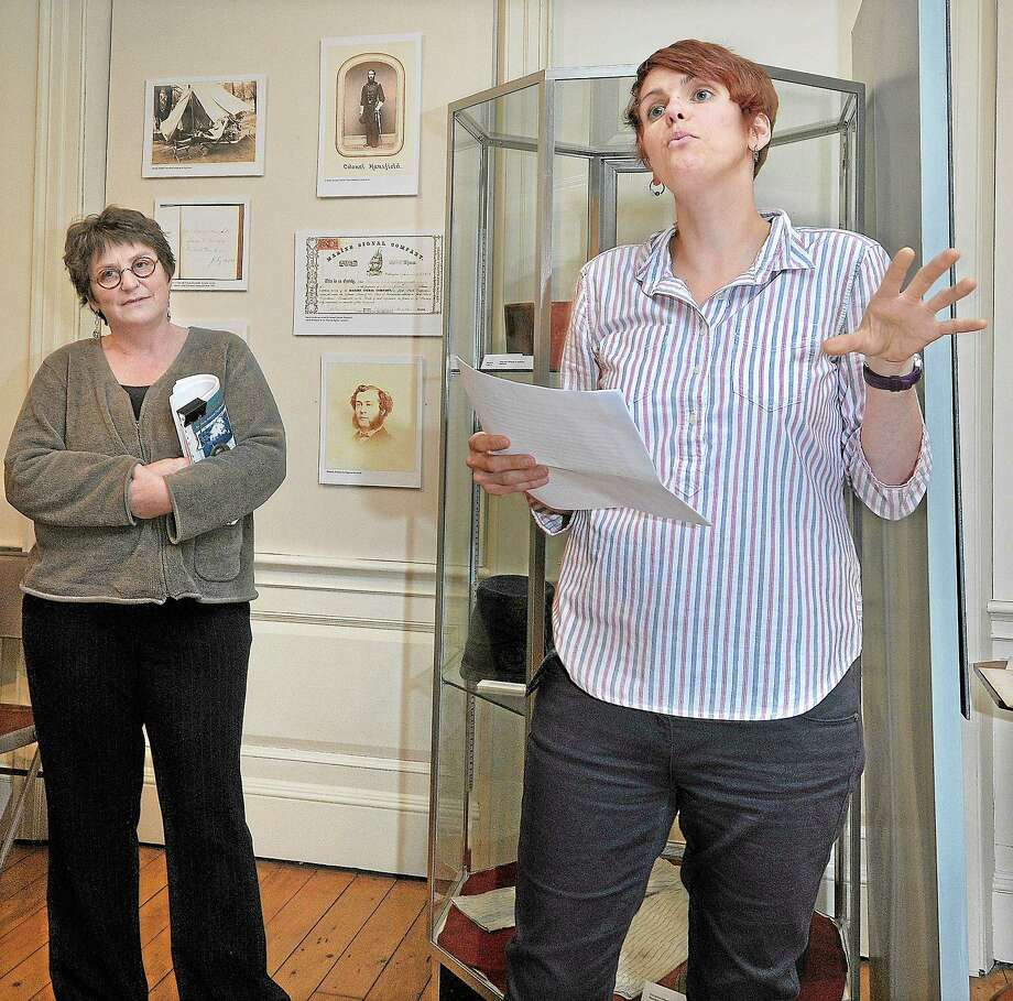 "Sarah Croucher, assistant professor of anthropology and archaeology at Wesleyan University, speaks about the project ""Unearthing Community: Archaelolgy of the Beman Triangle"" at the Middlesex County Historical Society. Photo: Catherine Avalone — The Middletown Press  / TheMiddletownPress"