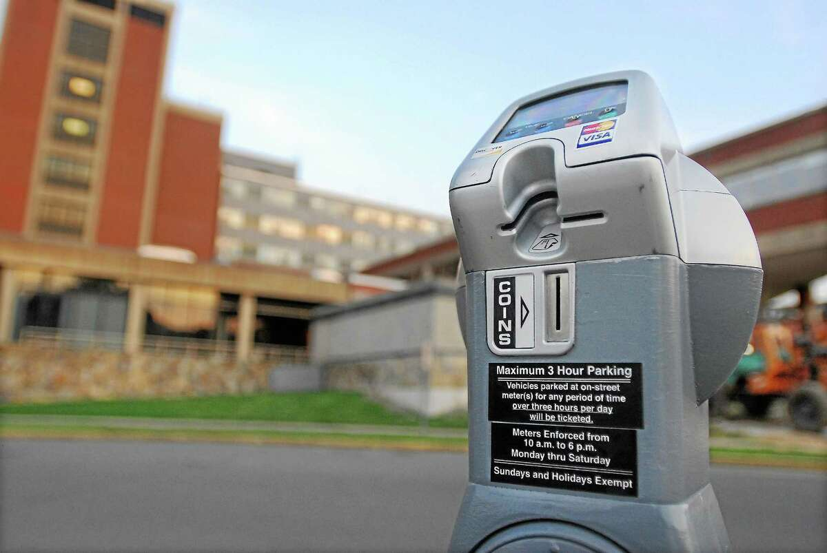 A parking meter on Crescent Street in Middletown. (Middletown Press file photo)