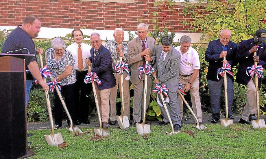 Alex Gecan - The Middletown PressCity officials and Eckersley Hall Building Committee members break ground at the future senior center. Photo: Journal Register Co.