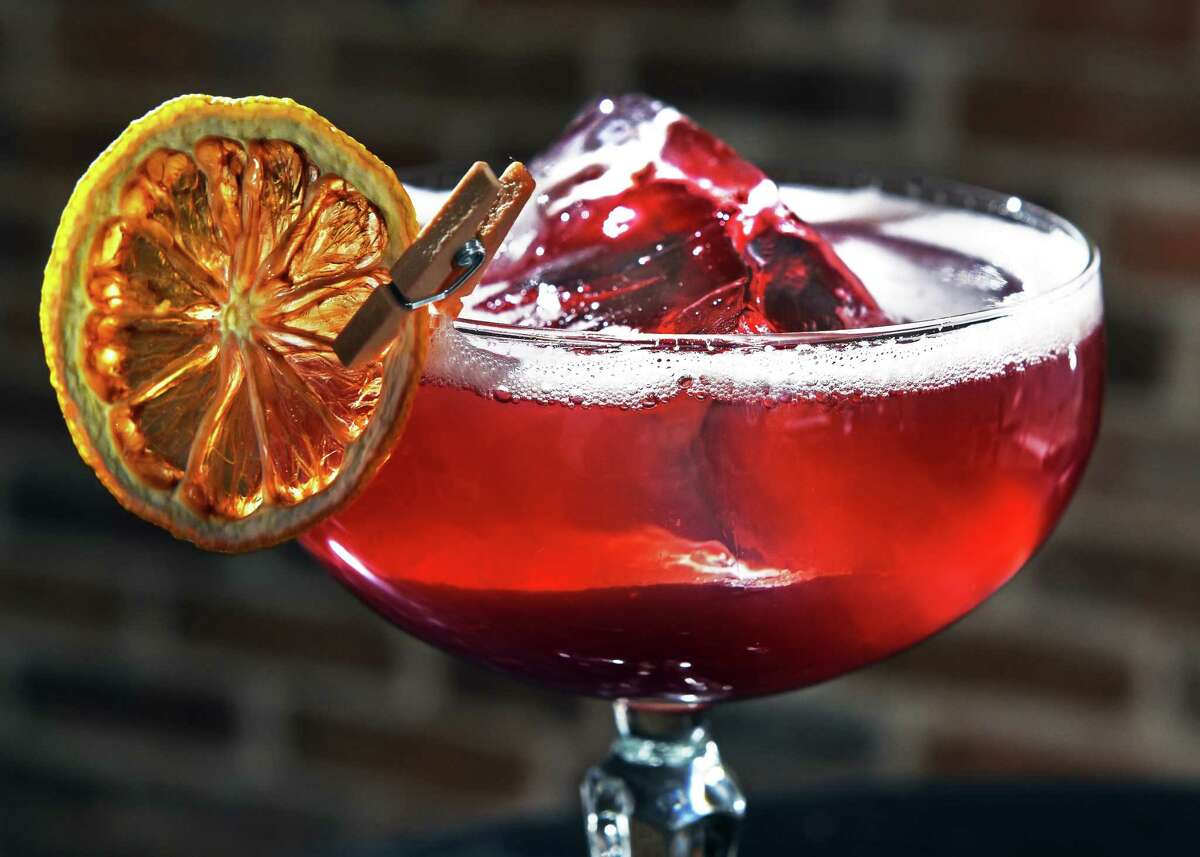 Duke of Magenta cocktail at Hamlet & Ghost Friday June 23, 2017 in Saratoga Springs, NY. (John Carl D'Annibale / Times Union)