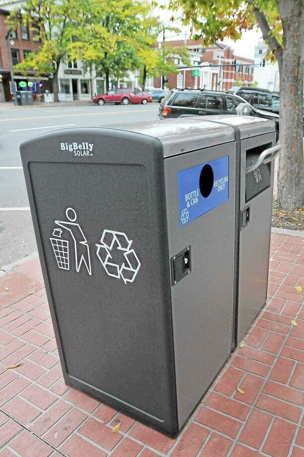 Twenty Big Belly Solar trash and bottle/can containers have been placed downtown by the Public Works department. Photo: Catherine Avalone - The Middletown Press  / TheMiddletownPress