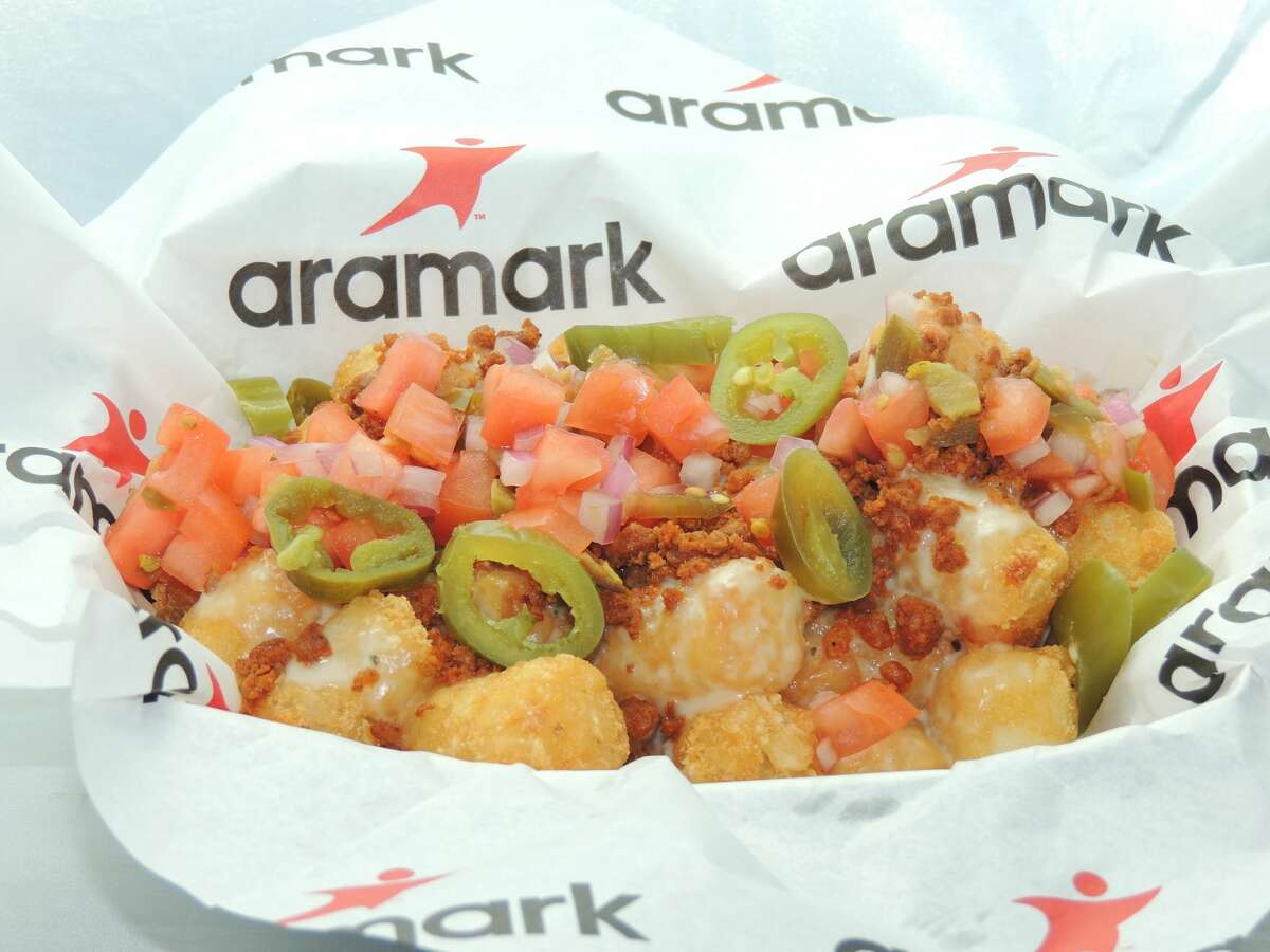 Taco Tots (Paul Brown Stadium): Tater tots loaded with queso blanco, chorizo crumbles, pico de gallo and jalapenos.