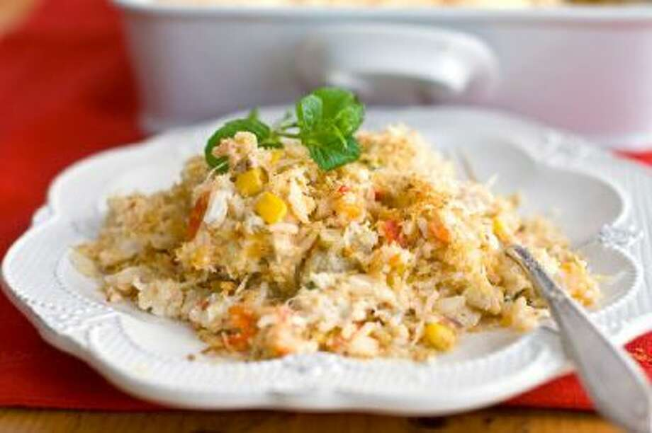 Creamy crab and rice casserole.
